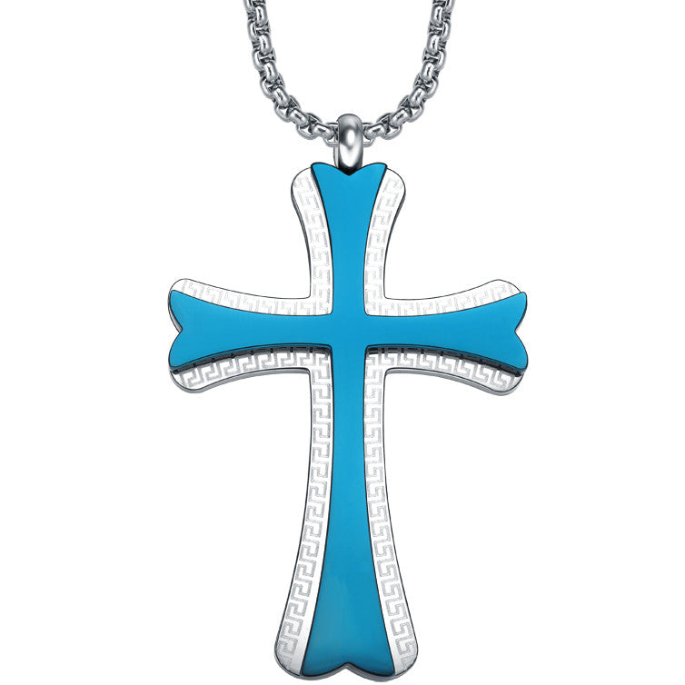 Stainless Steel Cross W. Greek Key Pattern Pendant Necklace