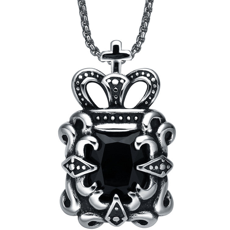 Stainless Steel Cross Topped Crown W. Black Cubic Zirconia Pendant Necklace
