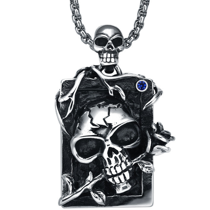 Stainless Steel Gothic Demon Skull and Rose W. Blue Crystal Pendant Necklace