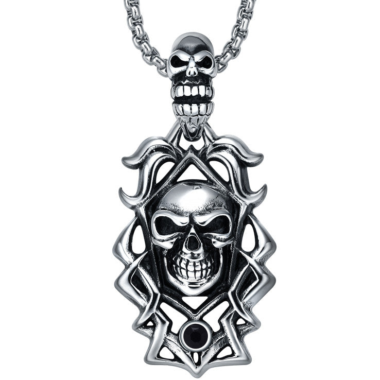 Stainless Steel Gothic Double Smiling Skulls W. Black Crystal Pendant Necklace