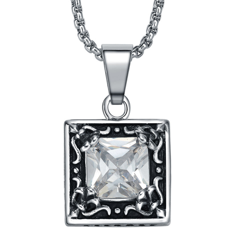 Stainless Steel Vintage Square Cubic Zirconia Pendant Necklace