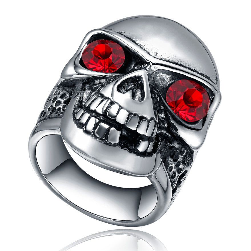 Stainless Steel Gothic Skull Ring W. Red Crystal Eye