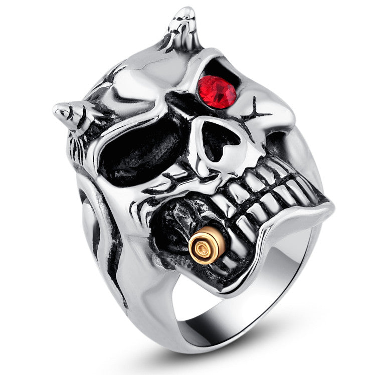 Stainless Steel Gothic Devil Skull W. Red Crystal Eye Ring