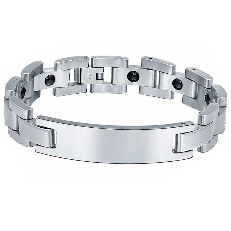 Stainless Steel Hematite Magnetic Therapy ID Bracelet