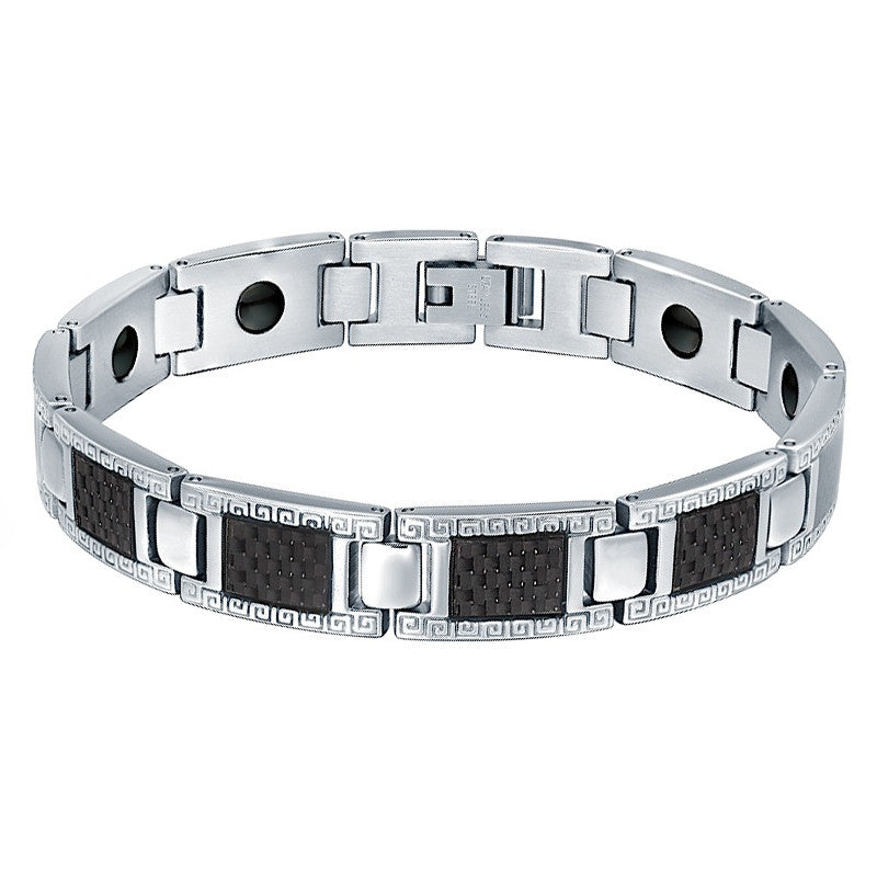 Stainless Steel Carbon Fiber, Greek Key, and Hematite Magnetic Therapy Bracelet