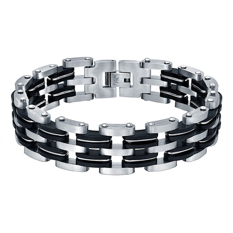 Stainless Steel and Black Rubber Double Biker Bicycle Chain Bracelet