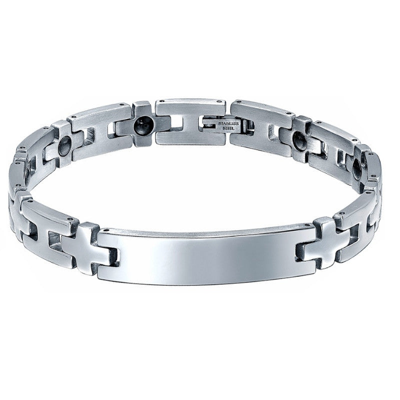 Stainless Steel Cross and Hematite Magnetic Therapy ID Bracelet