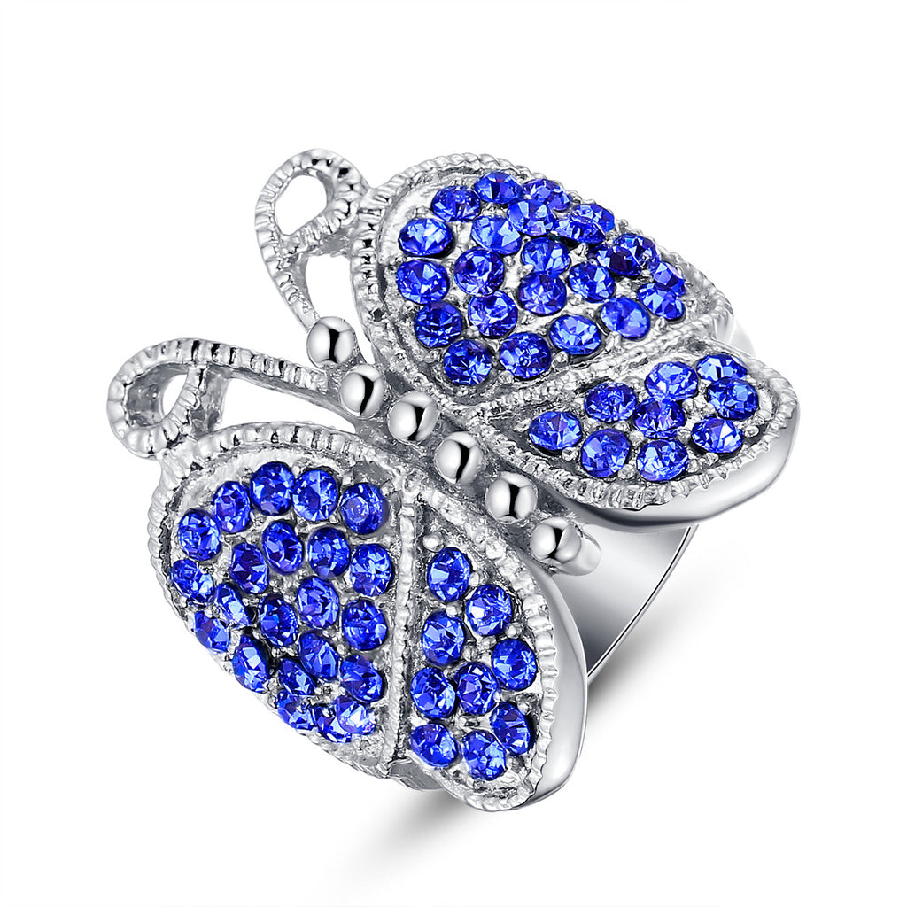 Stainless Steel Blue Crystal Studded Butterfly Ring