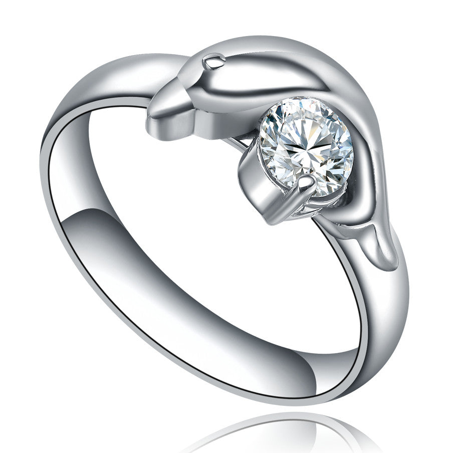 Stainless Steel Dolphin W. Cubic Zirconia Ring
