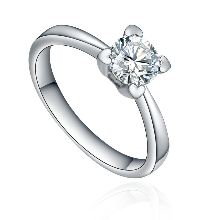 Stainless Steel Round Cubic Zirconia W. Heart Shape Prong Ring