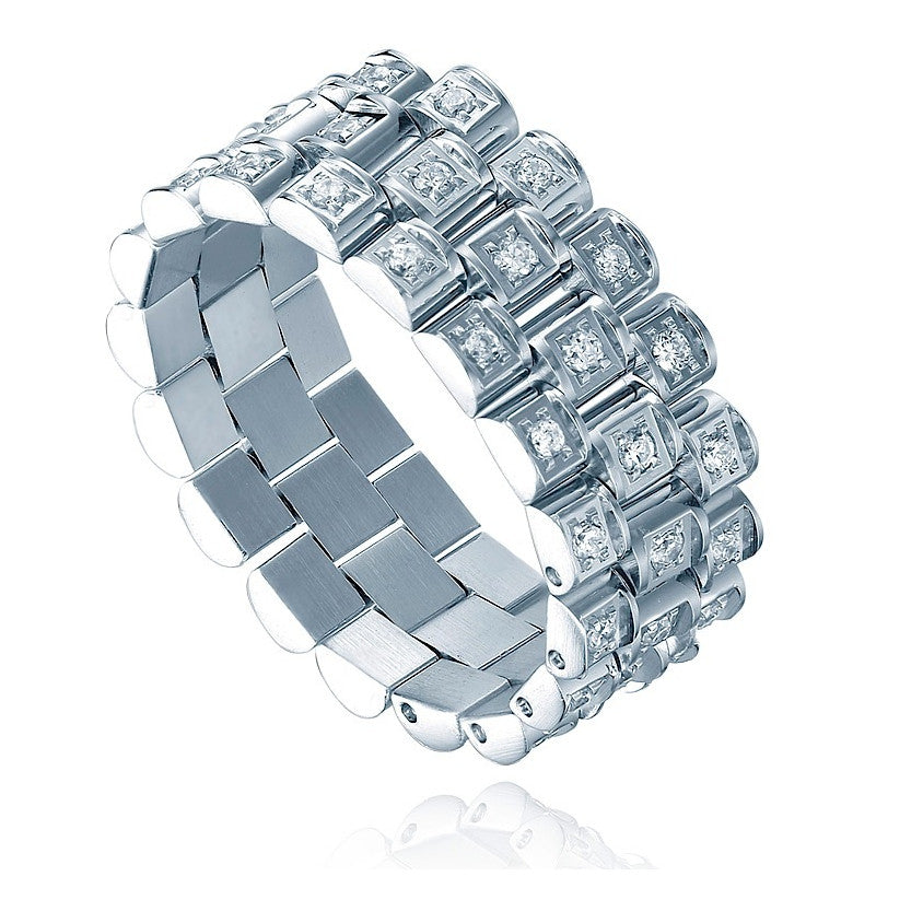Stainless Steel 8mm Eternity Ring W. Triple Row Cubic Zirconia Watch Band Style