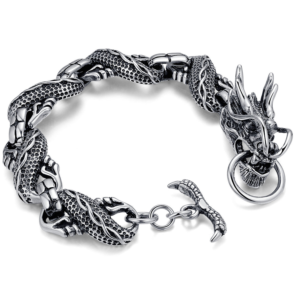 Stainless Steel Biker Dragon Link Bracelet