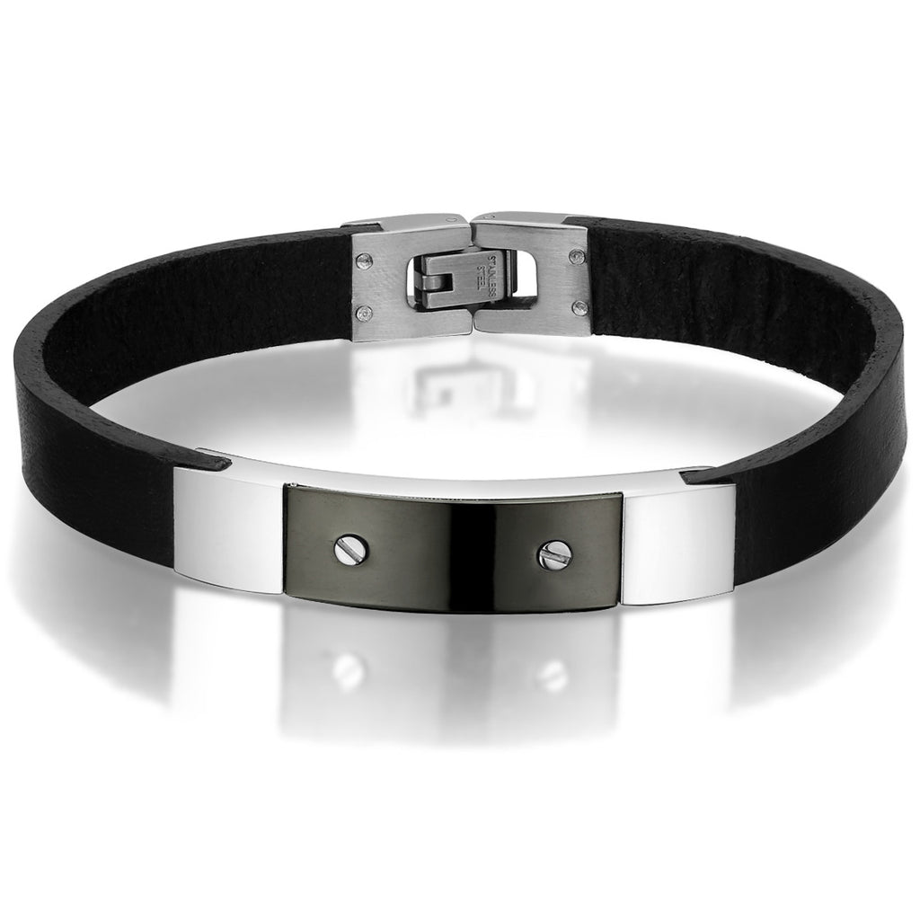 Leather and Stainless Steel Screw ID Design Bracelet