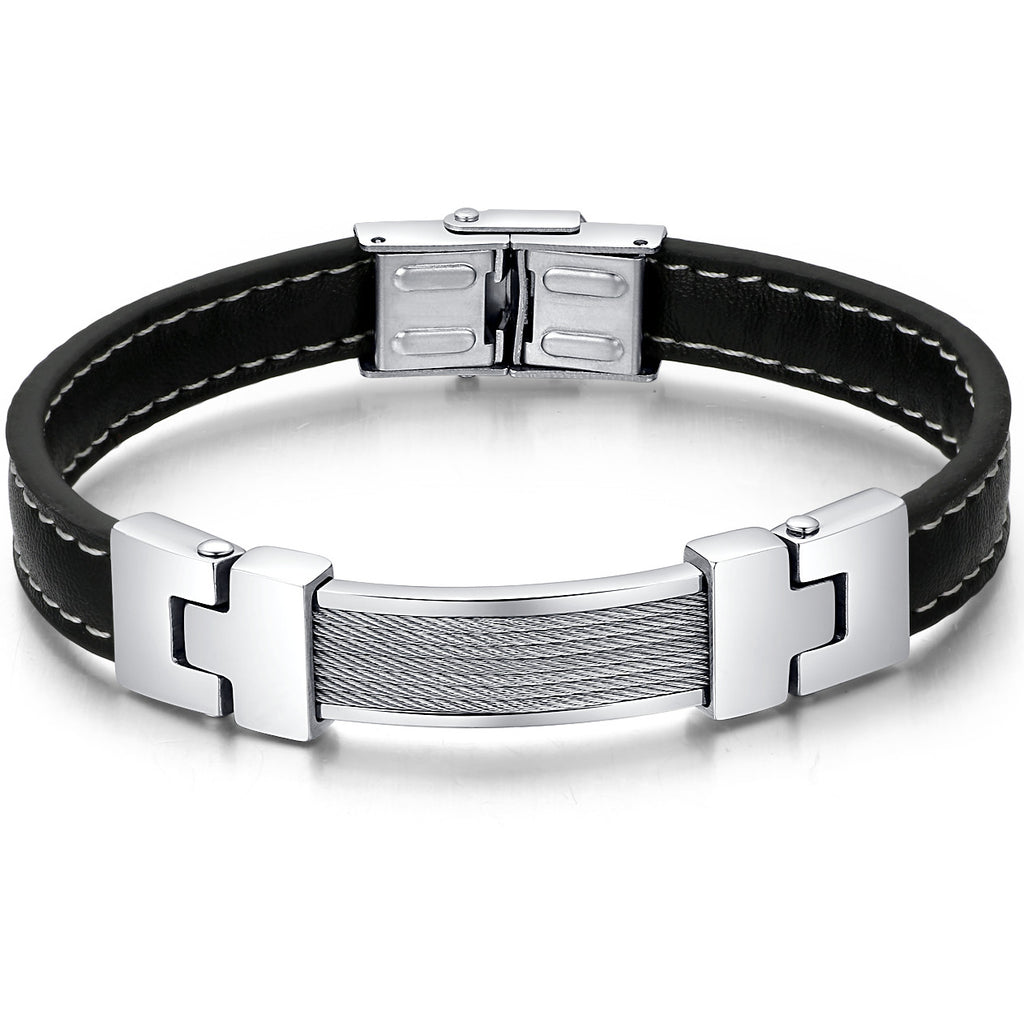 Leather and Stainless Steel Cable Chain Style Unisex Bracelet