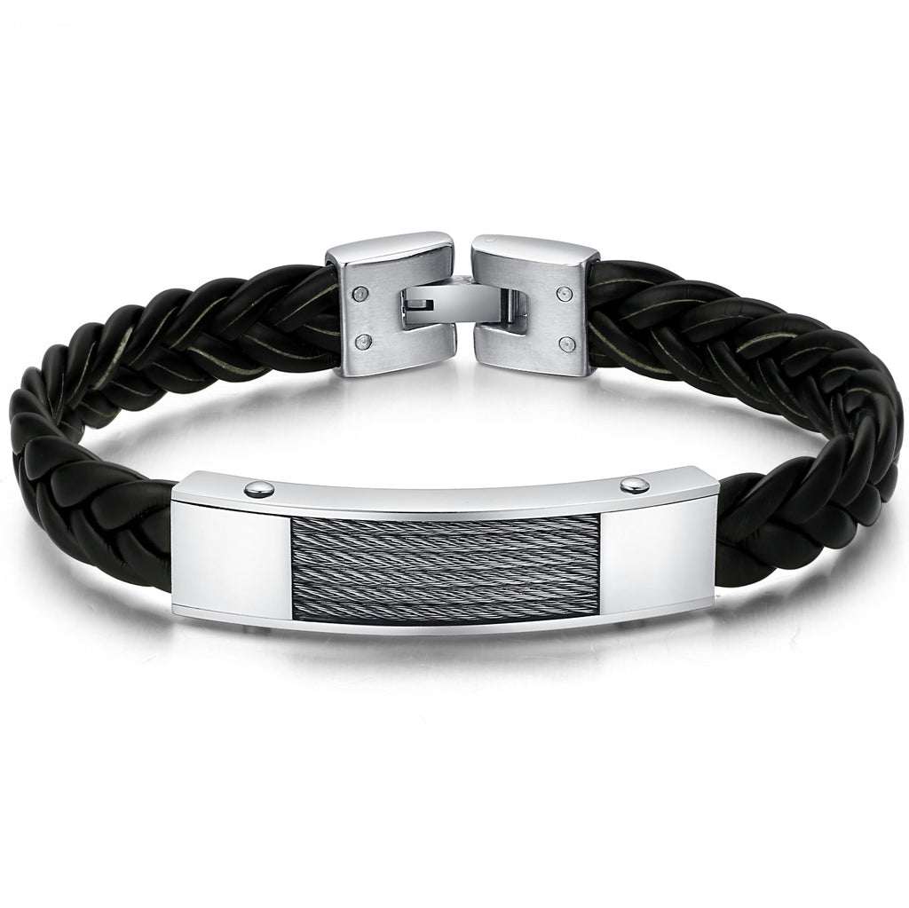 Braided Leather and Stainless Steel Cable Chain Style Bracelet