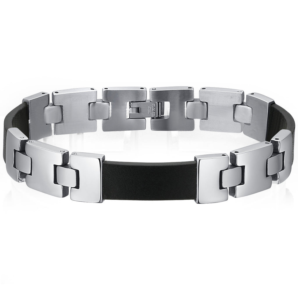 Leather and Stainless Steel Alternating Strips Bracelet