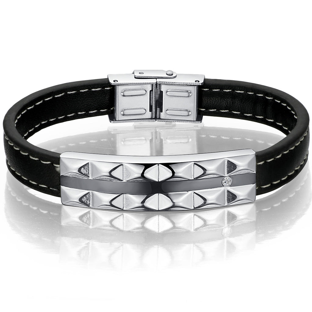 Leather and Stainless Steel Convex Pattern W. Cubic Zirconia Unisex Bracelet