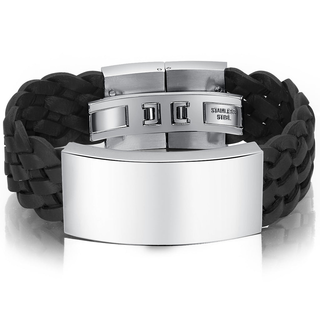 Braided Leather and Stainless Steel Id Style Unisex Bracelet - Black