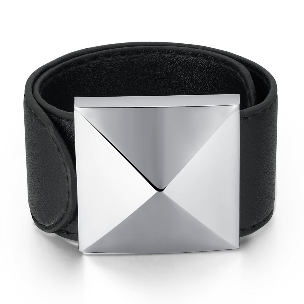 Leather and Stainless Steel Pyramid Design Flexible Wrap Bracelet