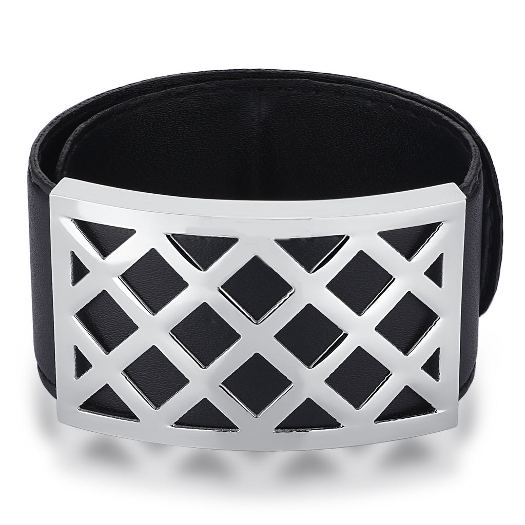 Leather and Stainless Steel X Pattern Flexible Wrap Bracelet