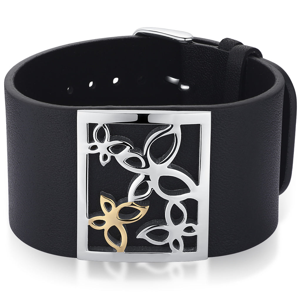 Leather and Stainless Steel Butterfly Belt Buckle Bracelet