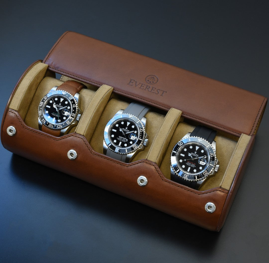brown leather watch roll everest