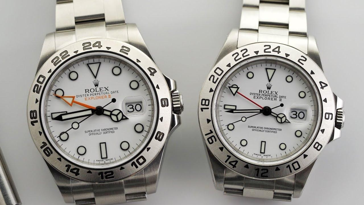 two rolex explorers with polar dials side by side