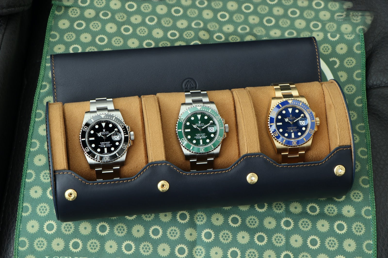 3 rolex sports watches in everest leather watch roll