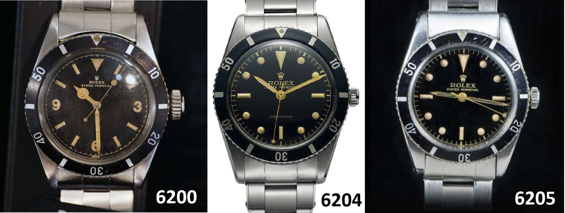 3 vintage rolex submariners side by side