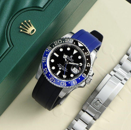 rolex gmt master two batman with rubber straps