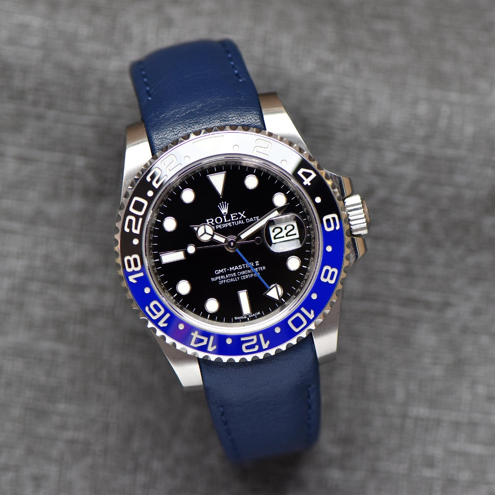 blue leather strap for rolex gmt master II blnr