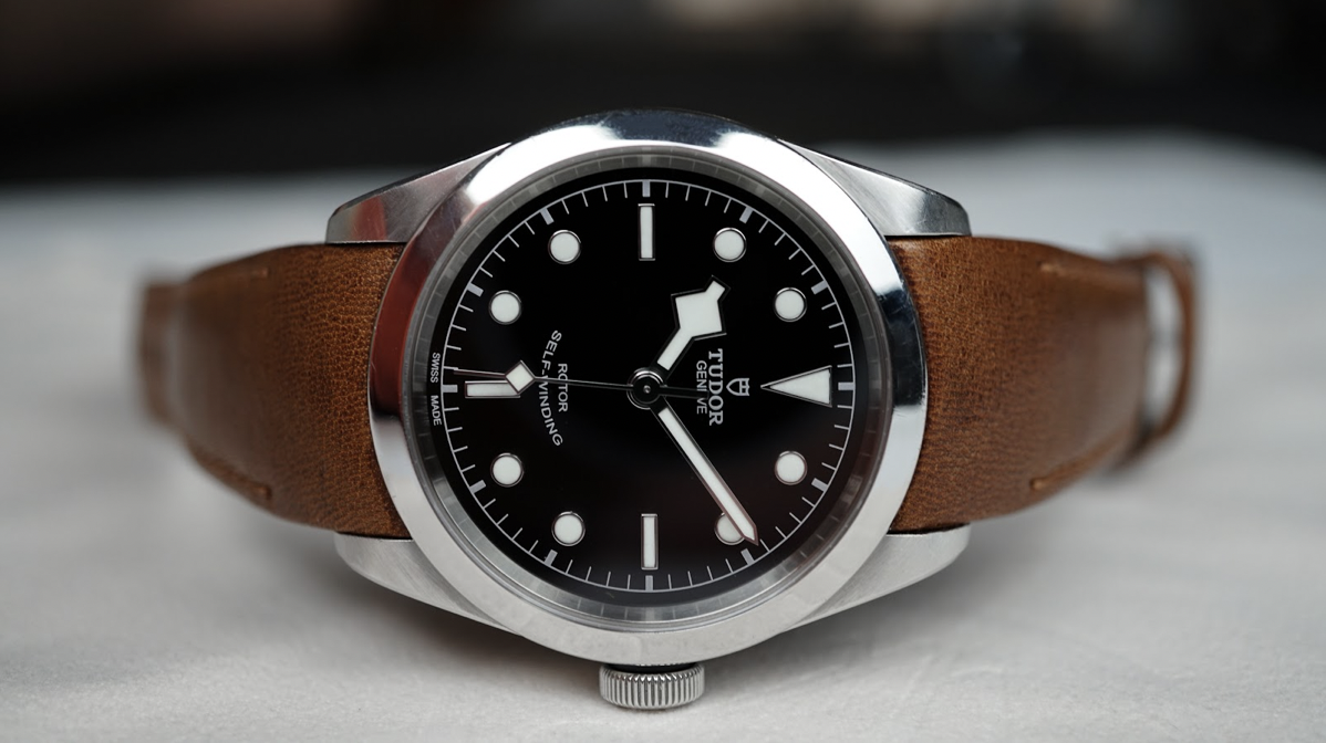 tudor watch on everest curved end leather strap