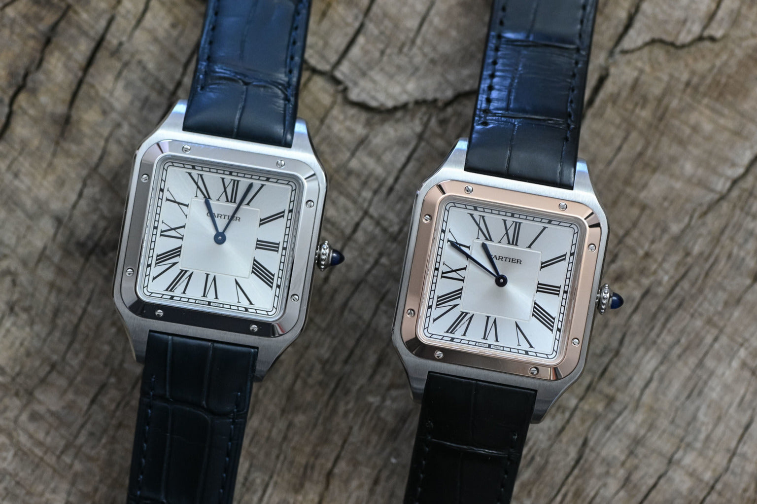 cartier santos watch in two iterations