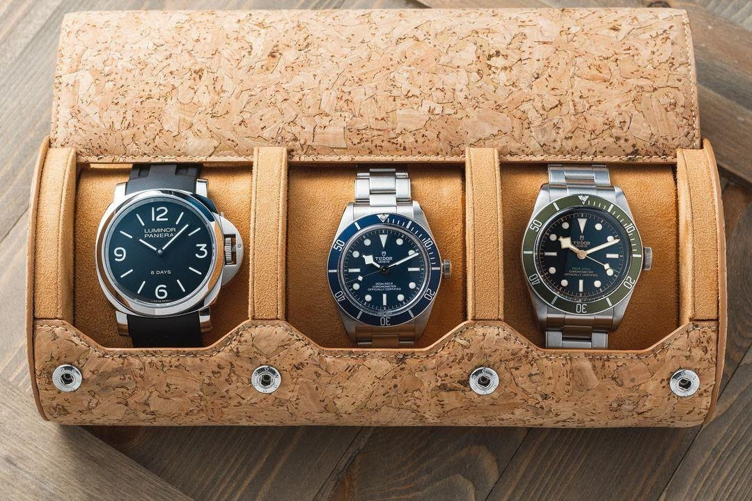 cork watch roll with panerai watch and tudor watches inside
