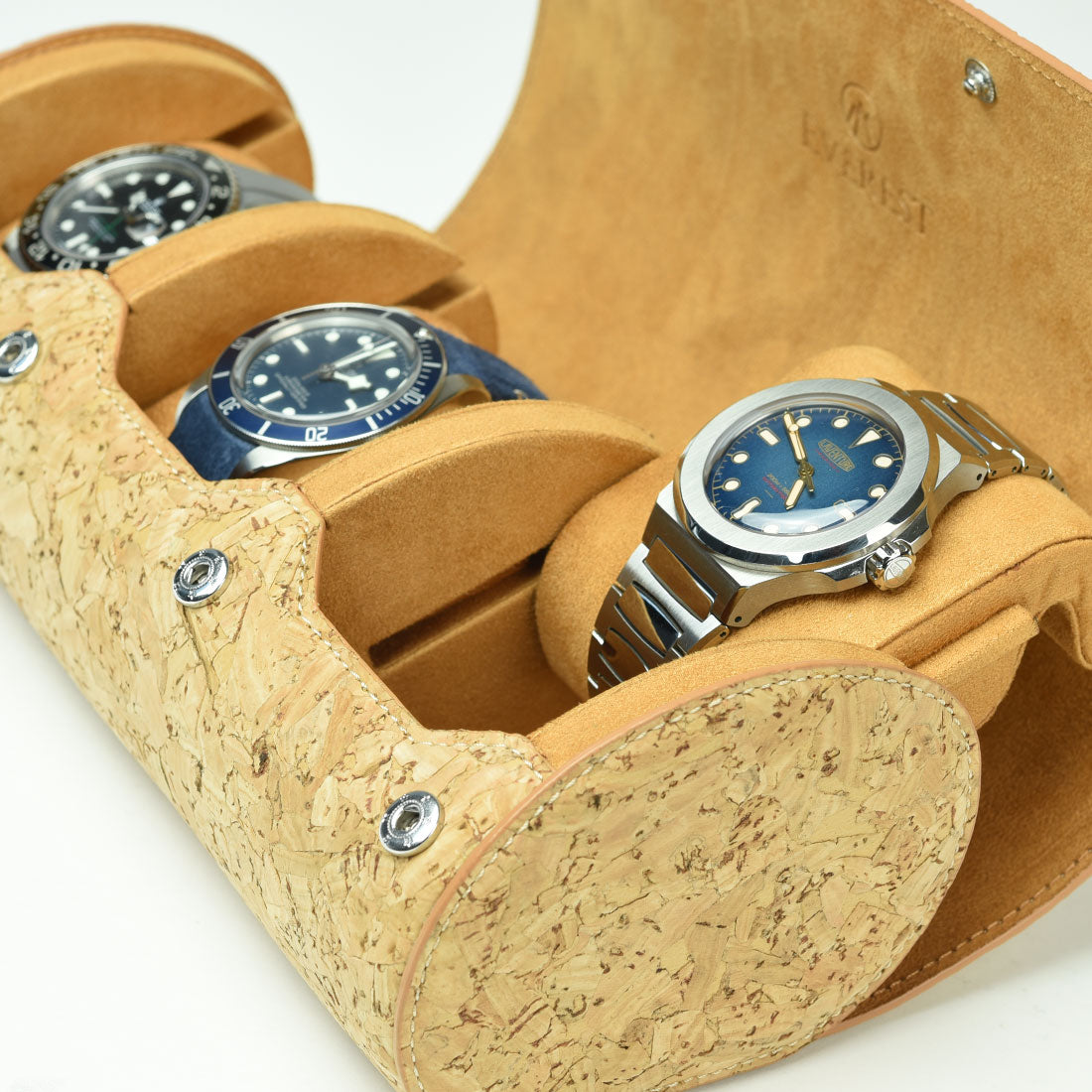 cork watch roll showing sliding rail system and french painted edge