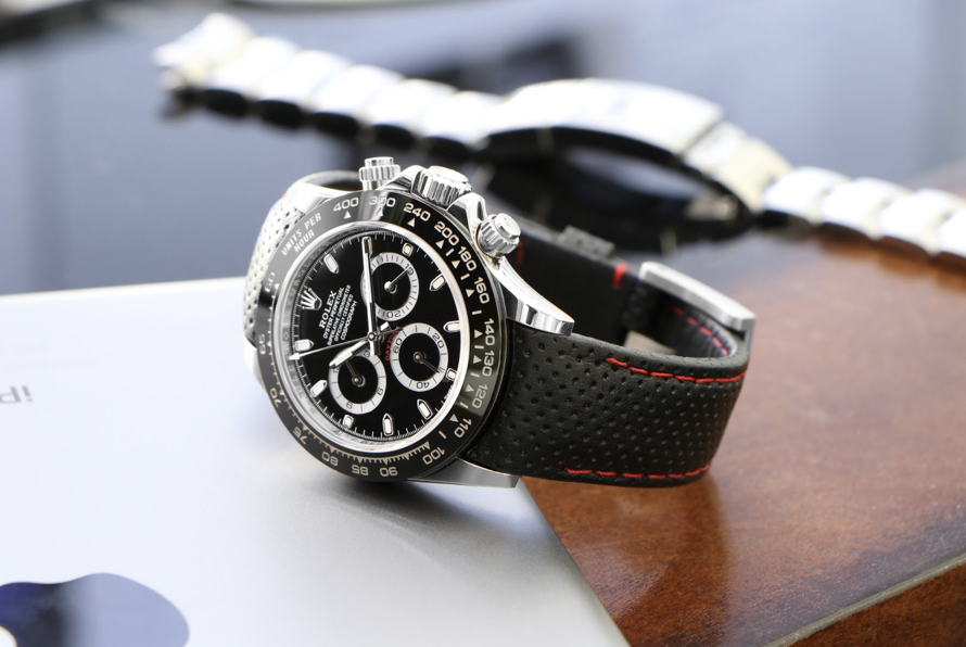 rolex daytona on perforated leather strap by everest bands