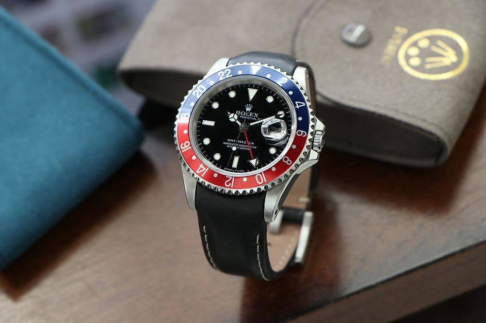 rolex gmt master II on leather band