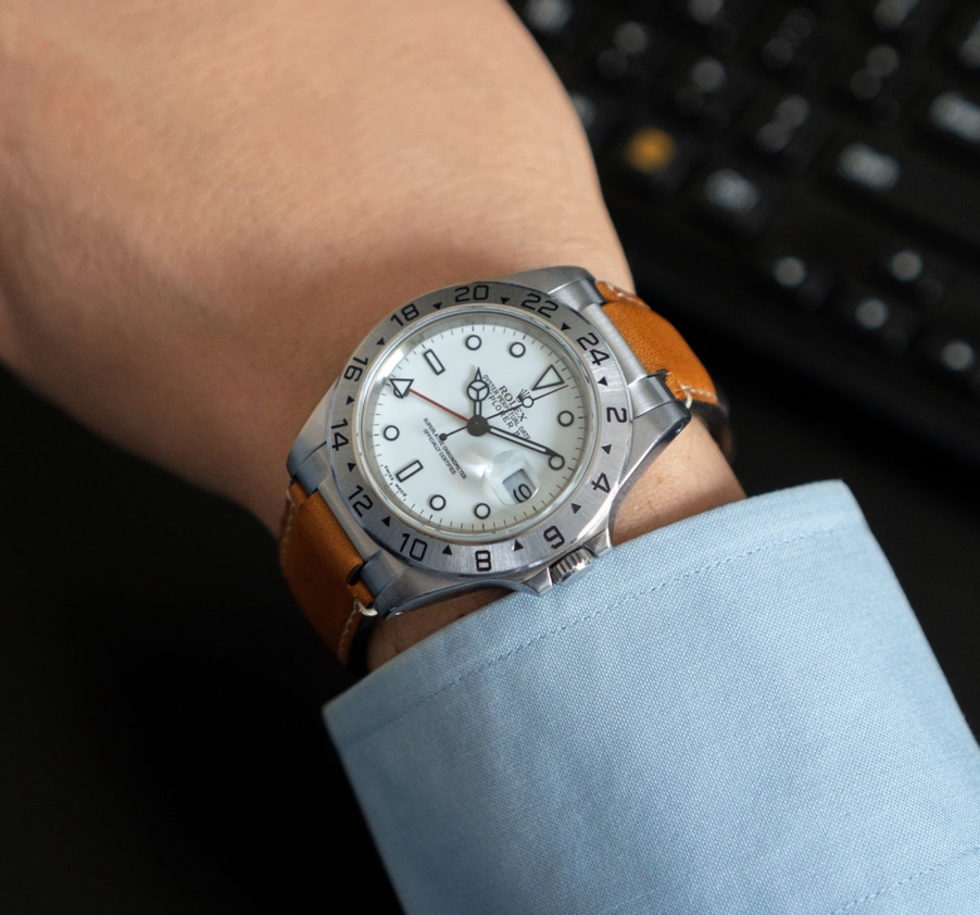 rolex explorer 1 on leather strap with curved end