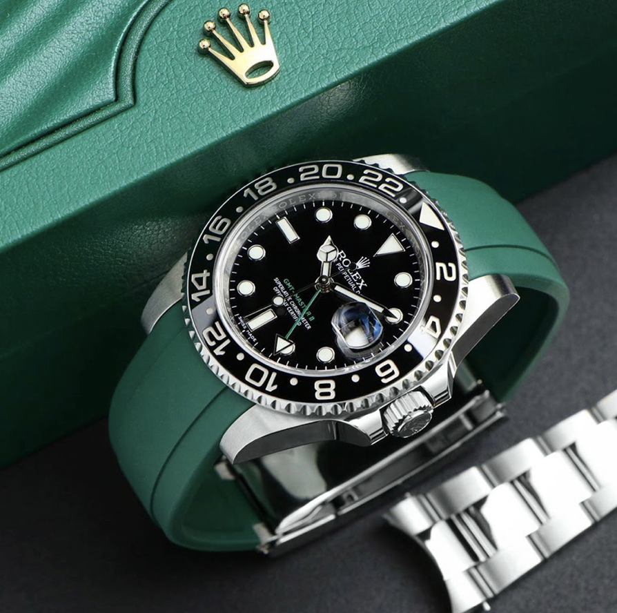 green rubber strap on rolex gmt master two