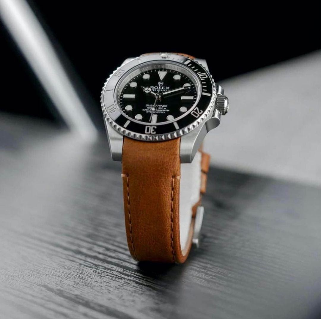 Rolex submariner on leather strap from Everest Bands