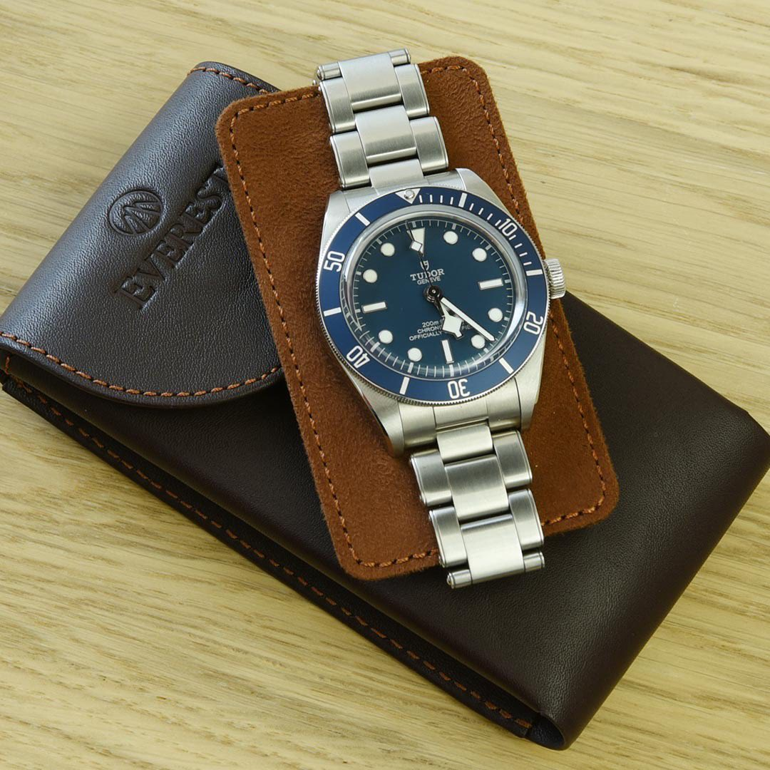 tudor watch and leather watch pouch