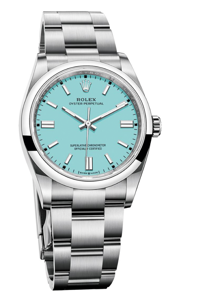 rolex oyster perpetual in turquoise blue