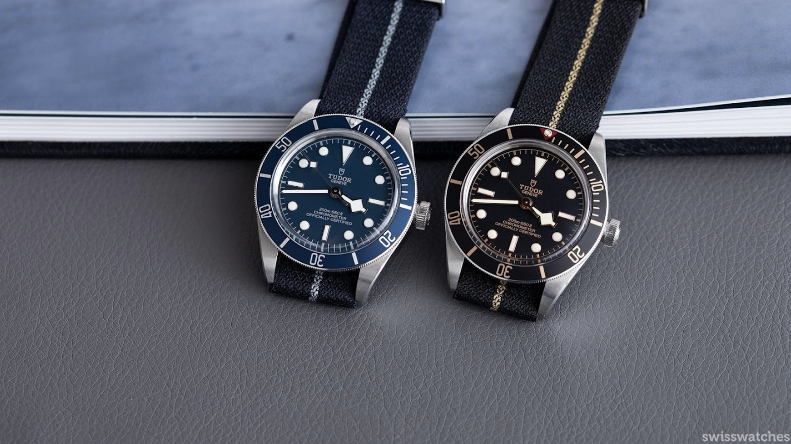 two tudor black bay fifty eight watches on fabric strap