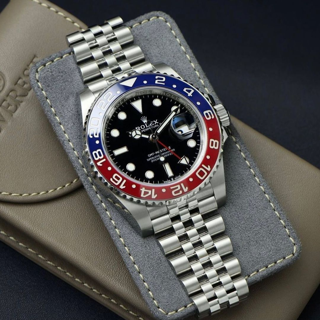 everest leather watch pouch and a pepsi rolex gmt