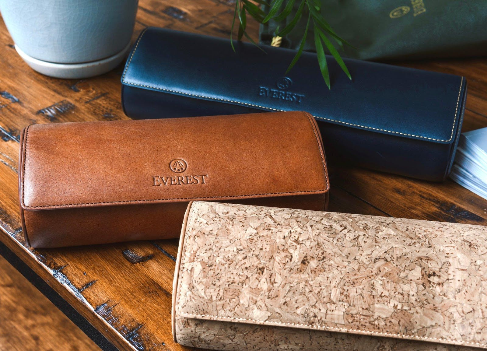everest leather and cork watch rolls