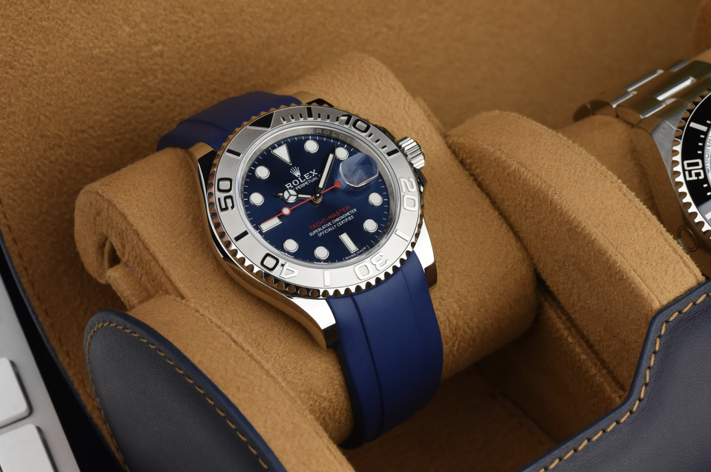 rolex yachtmaster on blue rubber strap in watch roll
