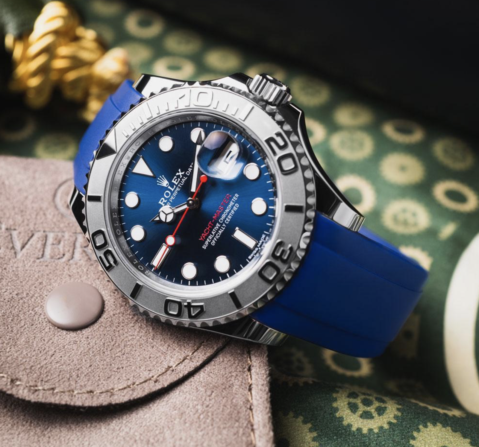 rolex yacht master on blue rubber strap