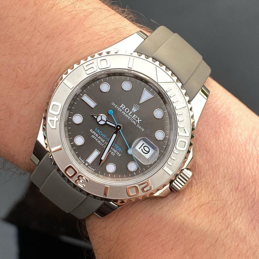 rolex yachtmaster on gray rubber