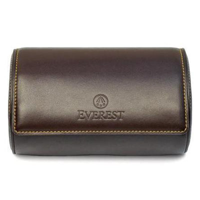 brown leather watch travel case