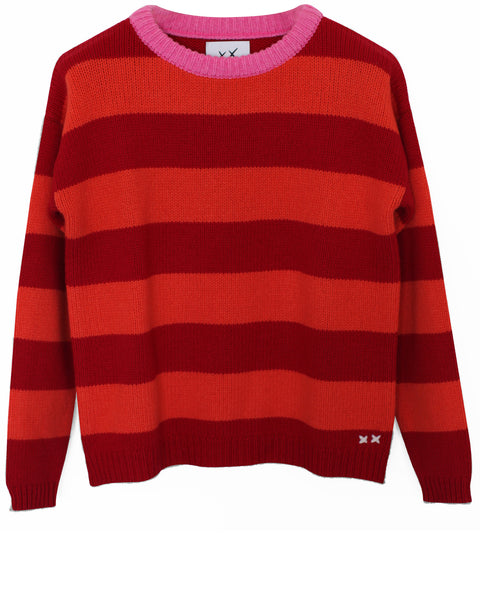 Stripe Oversized Crew | Pink/Orange Stripe